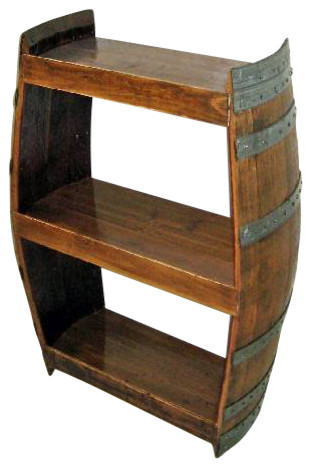 Handcrafted Reclaimed Barrel Wine Shelf   Rustic   Wine And Bar Cabinets    By Master Garden Products