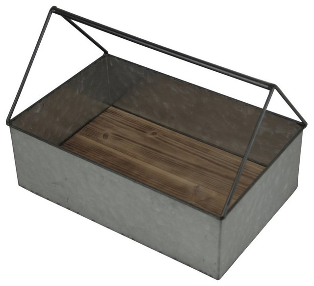 "Cheung&x27;s Rectangular Metal Caddy With Handle And Wood Base, 8.25""x12.5""."