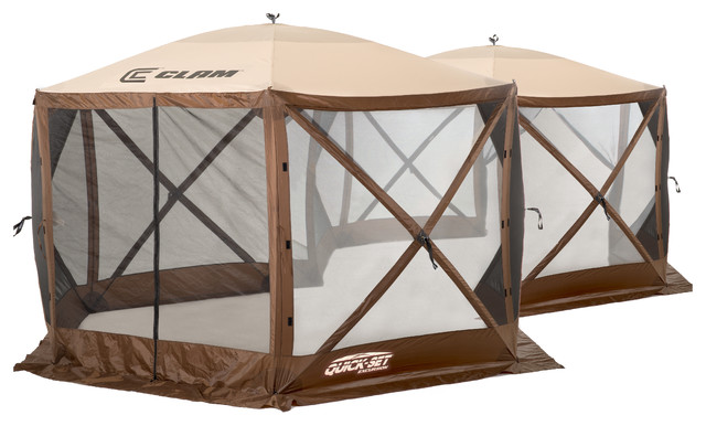 Excursion Screen Shelter, Brown/tan Roof/black Mesh, W/ Wind Panel Flaps.