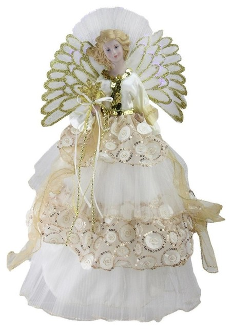"16"" Battery-Operated Angel In Sequined Gown Christmas Tree Topper."