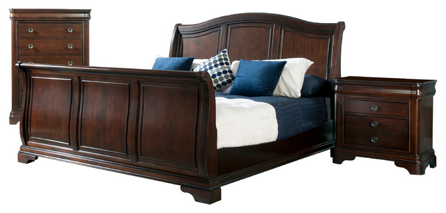 conley king sleigh 3 piece set traditional bedroom