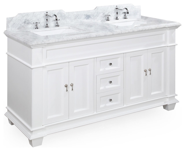 Elizabeth Double Vanity, White, Carrara Marble, 60 Part 33