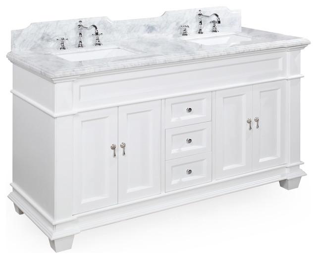 """Elizabeth 60"""" Bathroom Vanity, Base: White, Top: Carrara Marble, Double Vanity"""