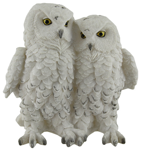 Snow Owls Couple in Love Perching on Tree Branch Figurine Resin Statue Animal