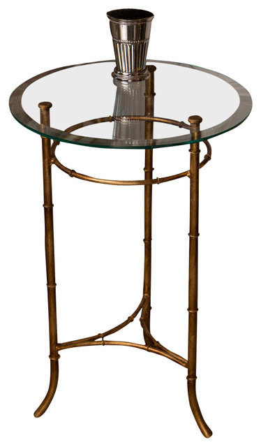 Attrayant Bamboo Side Table, Antique Gold