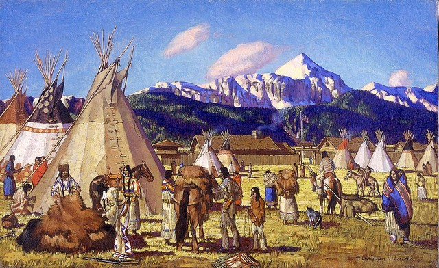 Superior Native Americans Fur Trading Wallpaper Wall Mural, Self Adhesive  Contemporary Wall Decals Part 7