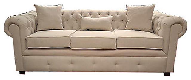 White Linen Chesterfield Sofa Traditional Sofas