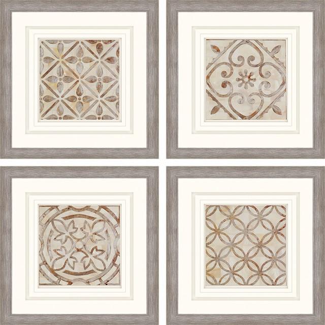 "Moroccan Tiles Artwork, Set of 4, 24""x24"""