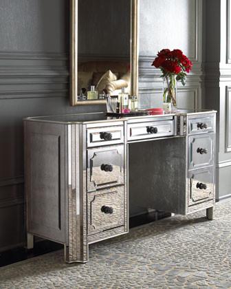 logan mirrored vanity desk traditional bedroom makeup vanitie