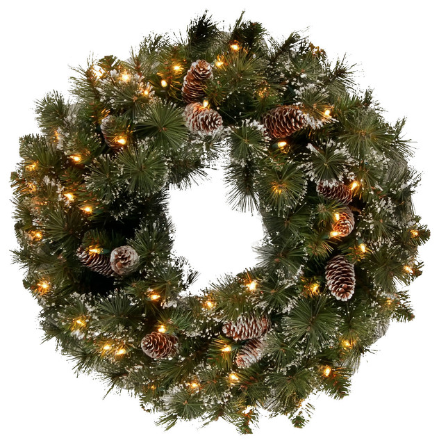 """24"""" Glittery Pine Wreath With Cones, Snowflakes And 50 Clear Lights, Ul."""