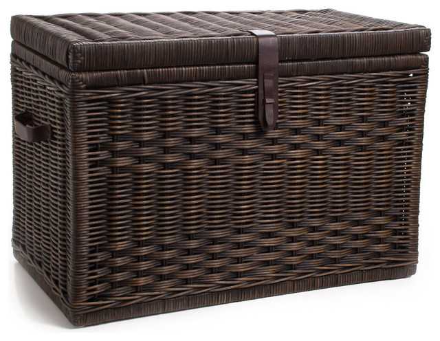 Wicker Storage Trunk, Antique Walnut Brown, Large decorative-trunks