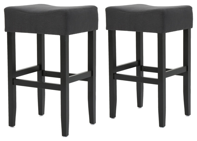 Pelargir Backless Dark Charcoal Fabric Barstools, Set Of 2.