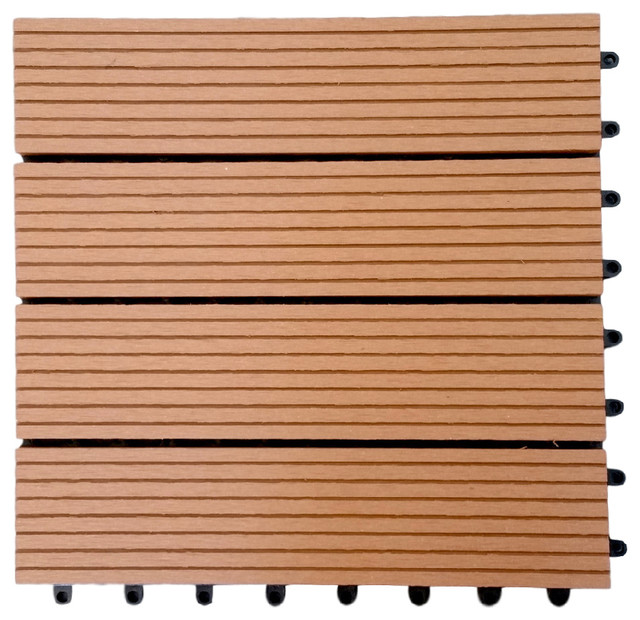 12 X12 Metawood Deck Tiles Composite Teak Snap To Install Traditional