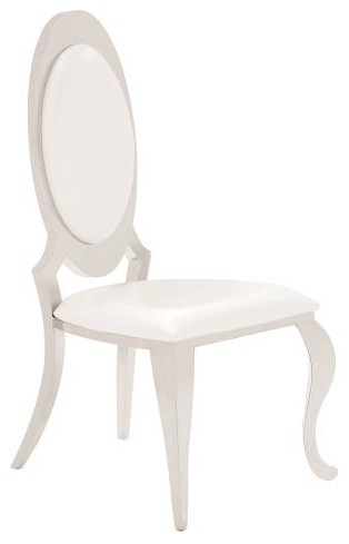 Pearlized Cream Leatherette Dining Side Chairs, Chrome, Set of 2