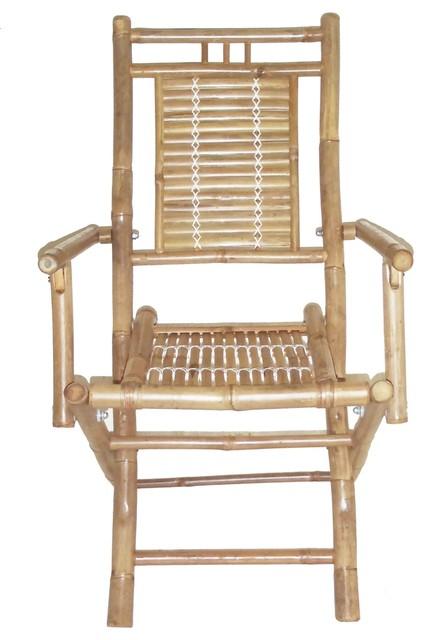 Folding Bamboo Chairs, Set Of 2