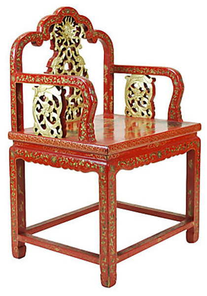 Consigned Antique Chinese Carved Red Lacquer Chair - Armchairs And Accent  Chairs - Antique Chinese Chairs Houzz