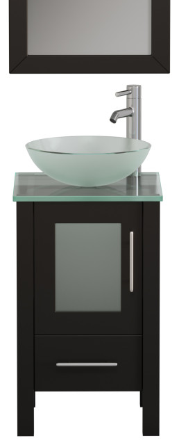 18 Espresso Wood And Glass Single, 18 Inch Bathroom Vanity With Vessel Sink