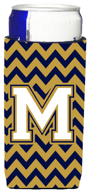 Letter M Chevron Navy Blue And Gold Ultra Beverage