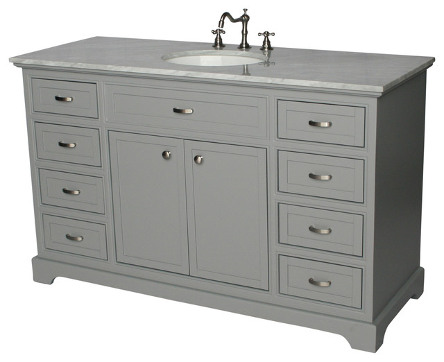 56 Contemporary Style Single Sink Bathroom Vanity Model 2422 56 Gk Transitional Bathroom Vanities And Sink Consoles By Chinese Arts Inc