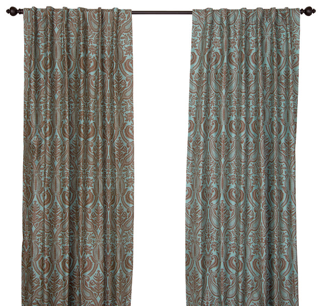 Silk All Over Print Steel Blue Curtain Panel - Contemporary ...