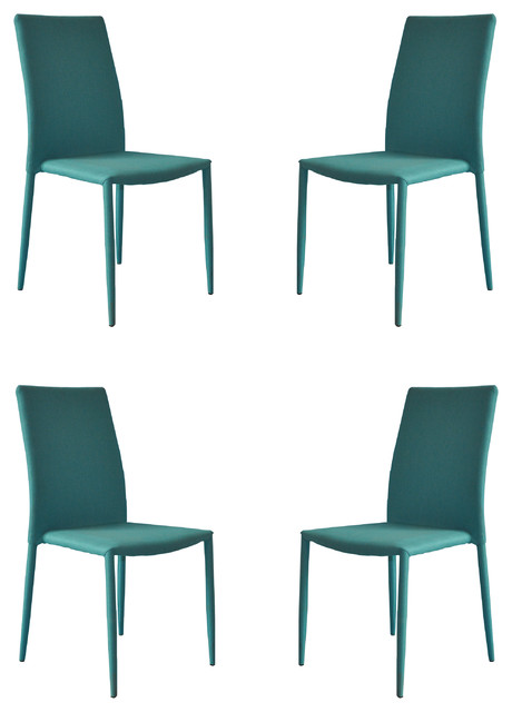 Modern And Sleek Fabric Dining Room Chairs, Set Of 4, Blue.