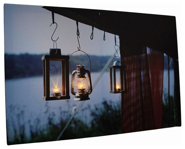 Lighted Pictures Wall Decor lake lanterns led lighted canvas wall hanging - rustic - wall