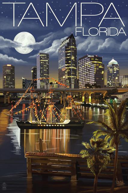 """tampa, Florida, Skyline At Night"" Print, 24""x36""."
