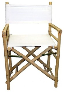 """Set of 2 Pieces Iron Bamboo Director Chair, White Canvas, 35""""H"""