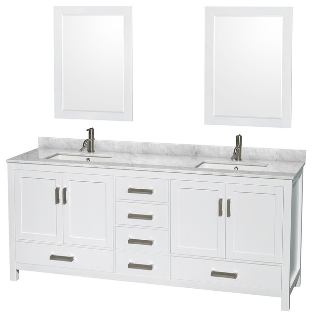 Sheffield Double Vanity, 24 Mirrors, 80, White, Sink: Undermount Square.