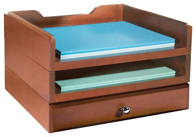 Bindertek Stacking Wood Desk Organizers 2 Trays And 1 Drawer Kit Cherry