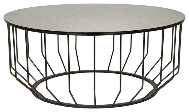 Exceptional Sandford Industrial Loft Antique Glass Metal Round Coffee Table Industrial  Coffee Tables