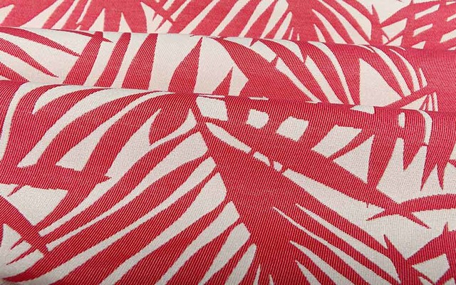 palm frond outdoor upholstery fabric in berry pink