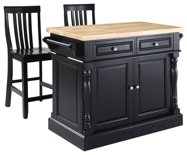 "Butcher Block Top Kitchen Island, 24"" Black School House"