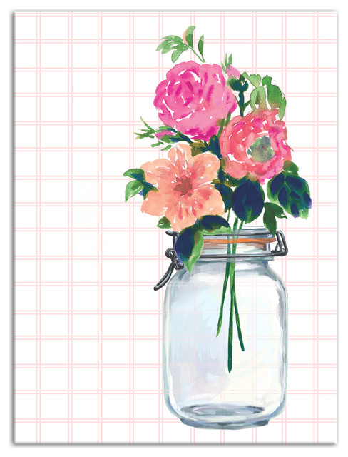 Flowers Mason Jar 18x24 Canvas Wall Art Contemporary Prints And Posters By Designs Direct