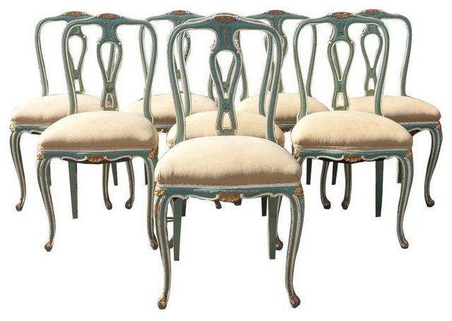 Teal Burlap Hand Painted Dining Chairs Transitional