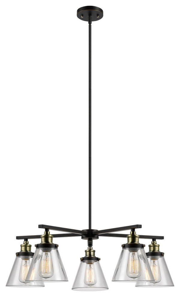 Antique Brass Finish with Oil Rubbed Bronze Kenroy Home 4 Light Rustic Chandelier