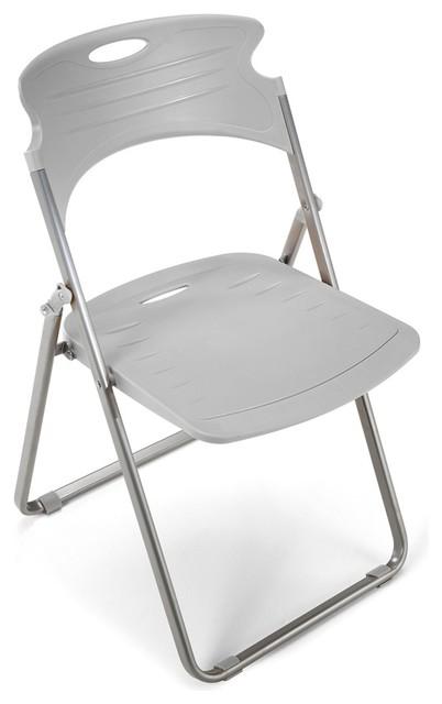 Astonishing Portable Folding Chair W Plastic Seat Back Set Of 4 Dove Gray Forskolin Free Trial Chair Design Images Forskolin Free Trialorg