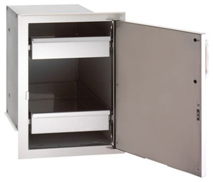 Single Access Door With Dual Drawers, Right Swing.