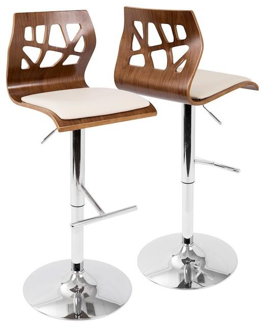 90dd464e1f7e Lumisource Folia Adjustable Barstool With Swivel, Walnut - Contemporary -  Bar Stools And Counter Stools - by ShopFreely