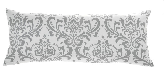 "Maggie White Lumbar Pillow Cover 14""x35"", Cotton And Linen."
