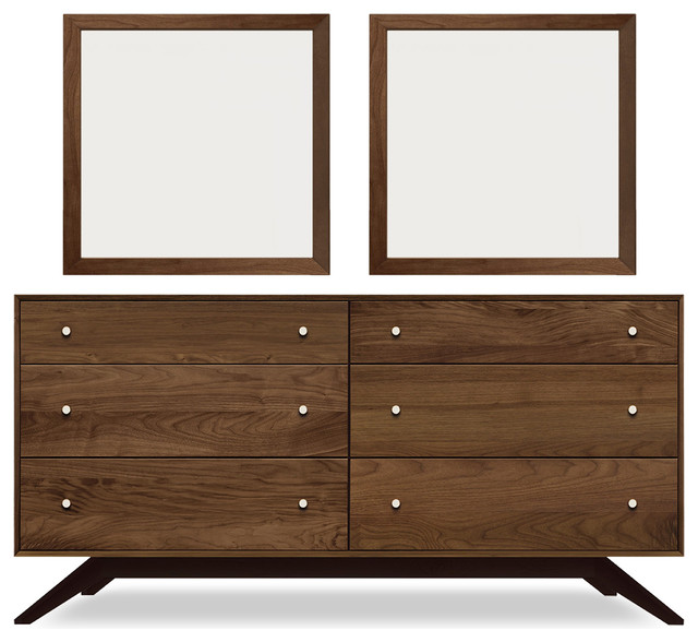 Astrid 6-Drawer Dresser, Walnut Dresser With Mirror Pair.