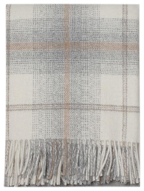 Awenda Alpaca Wool Checks Throw, Ivory/Tan