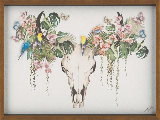 """Tropical Skull"" Framed 3D Cutout Artwork by Summer Thornton, 60x80 cm"