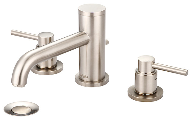 Delta Alux Spotshield Brushed Nickel 2 Handle Widespread: Two Handle Lavatory Widespread Faucet