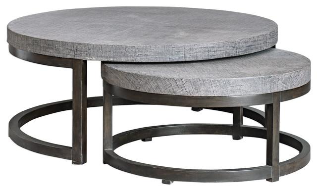 Rustic Modern Round Nesting Coffee, Modern Round Coffee Tables