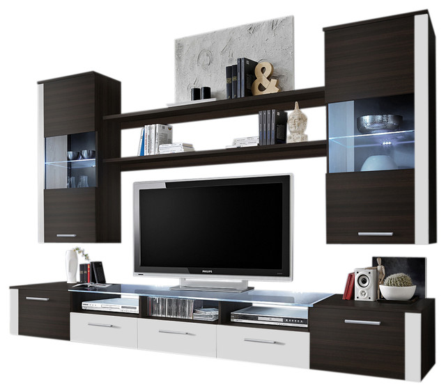 Fresh Modern Wall Unit Entertainment Center With Led Lights Venge White