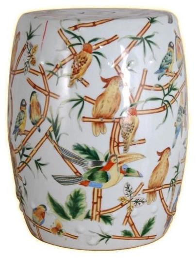 Pleasant Chinese Multicolor Bird Motif Round Garden Stool 18 Cjindustries Chair Design For Home Cjindustriesco