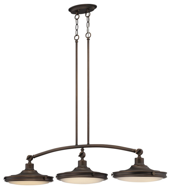 Houston 3 Light Pendant Rustic Brass