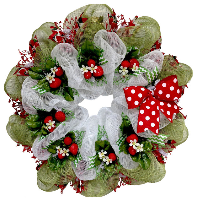 Strawberry Fields Forever Spring Or Summer Deco Mesh Ribbon Wreath.