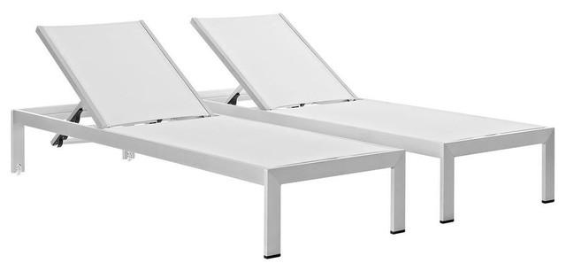 Shore Chaise Outdoor Patio Aluminum, Set Of 2, White.